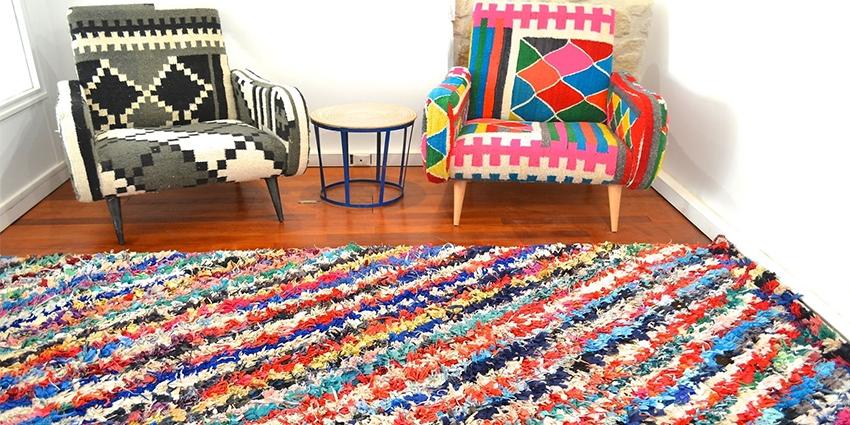 Boucherouite Tapis boucherouite, ou l'art du tapis écolo, s'expose à la fol de